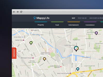MappyLife - Homepage map pins flat website responsive clean