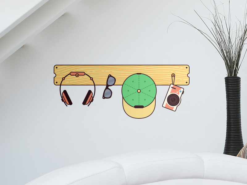 Hang yo' stuff sticker illustration flat vector headphones sunglasses camera hanger snapback wood print wall mockup