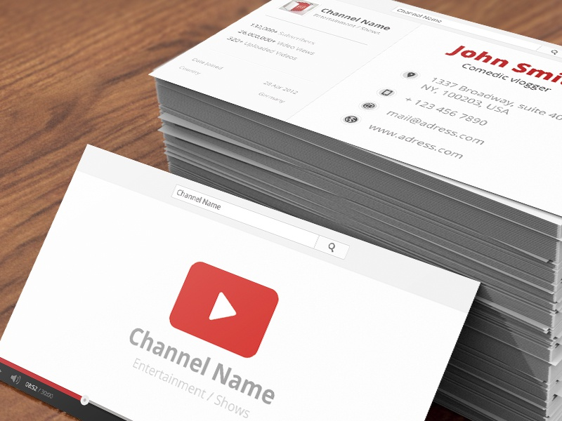 Outstanding youtube business cards photos business card ideas modern youtube business cards picture collection business card reheart Image collections