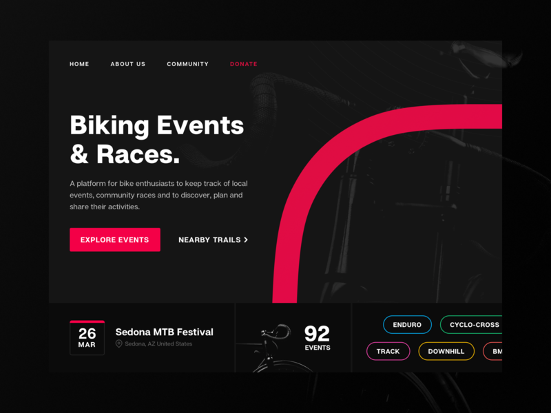 Cycling Events - Style Tile 01 webdesign web website product design digital product design outdoors adventure fitness cycling cycle biking bike user interface hero section hero image product style tile ui
