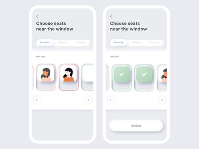 Neumorphism in Booking app flight choose seat seats flight booking flight app booking product design branding designer apple design inspiration ux design app ui ios