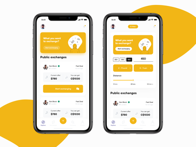 Exchange App cards ui wallet wallet app ios app designer violet yellow money app money application ux design ui  ux uidesign apple design inspiration ux design app ui ios
