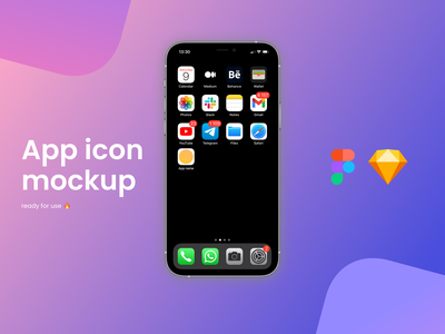 Free App Icon Mockup - Sketch/Figma mockup template mockup psd mockup design freebee freebies figma sketch ios14 ios app design logo app icon freebie free