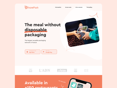 BarePack Website ecofriendly eco zerowaste visual identity landing website landing page design ui ux branding webdesign web