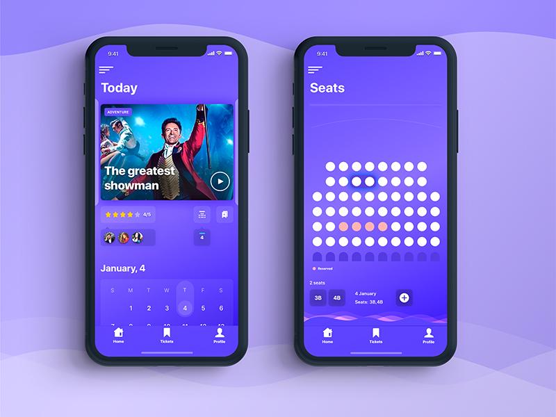 Cinema Ticket Booking App design app nice cinema booking ios