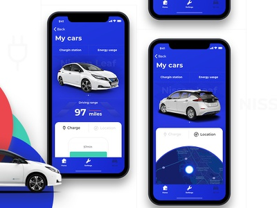 Nissan Leaf leaf nissan electric car iphonex ios app ux ui design