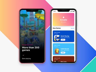 Apple Arcade uicard ui list ios inspiration gaming games design arcade appstore apple design app