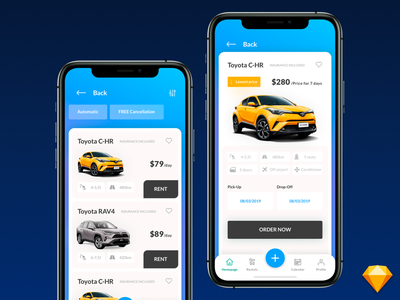 Car Rental Application graphicdesign designer inspiration rental app toyota rent booking rental car brand apple design list branding ux ui app design ios