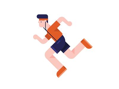 Running Men running man illustration vector earphones racing orange jogging sports sport running run men