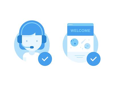Illustrations for Wix.com blue illustration icons browser woman website space support blue illustration