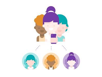 Illustration for Wix mobile app connect connection groups mobile hair group people illustration