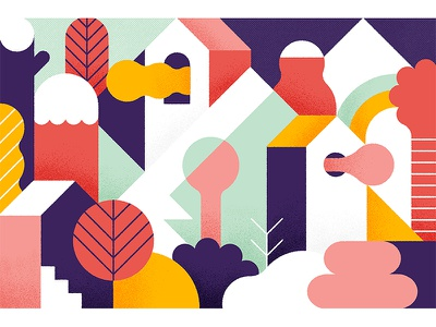 City of Love geometric art vector illustration abstract mountains valley shapes geometric landscape city house trees illustration