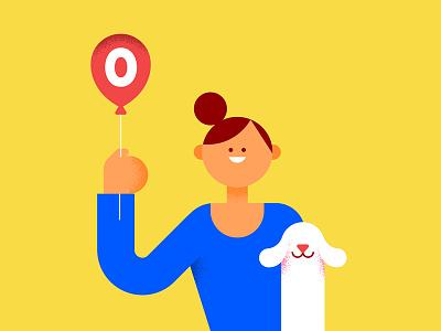 Zero abstract character woman balloon dog geometric vector illustration