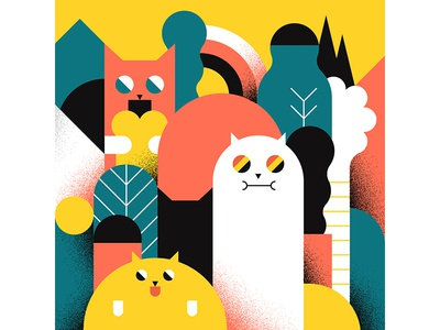 CrAzY cATs design character abstract vector illustration colors shapes forest cat geometic vector illuatration cats