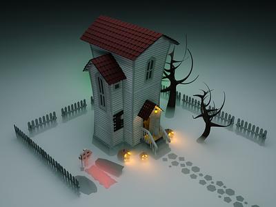 Gloomy house coronarender modelling fog helloween isometry illustration house home 3d c4d