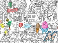 Alphabet City Coloring Poster