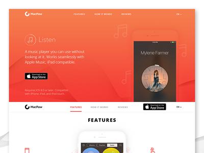 Listen app landing page responsive web app landing study project concept landing web design