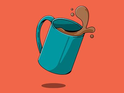 Bad Start falling dropped coffee mug vector illustration spill mug coffee