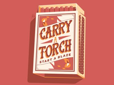 Carry a Torch vector blaze lettering matches matchbox torch