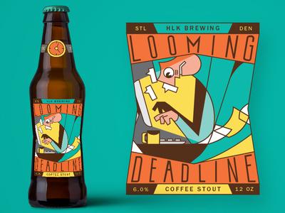 Looming Deadline stressed working hard illustration beer label beer packaging deadline