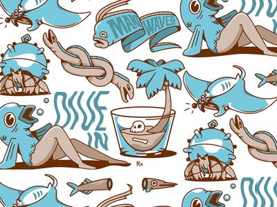 Dive In sea creatures dive in make waves hermit crab eels oarfish manta ray ocean life flash sheet icon ocean mermaid