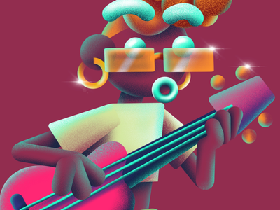 Funky shiny fro woman band guitar brush procreate texture hank fuzzie music