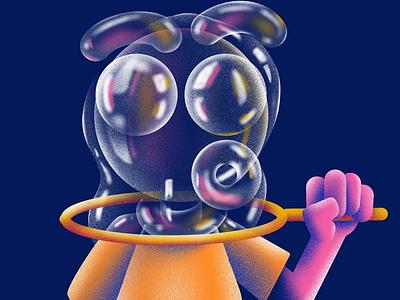 Bubble Trouble design character procreate texture hank fuzzie bubble