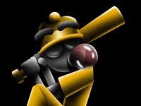 Batter up! swing texture hank gum fuzzie batter baseball