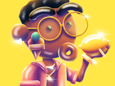 Gucci Mane Lemon procreate depth illustration hank fuzzie icecream guccimane hiphop rap rapper texture yellow fruit lemon