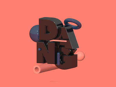 'DANG' typography type floating effects after dang composition salmon render photoshop 3d c4d