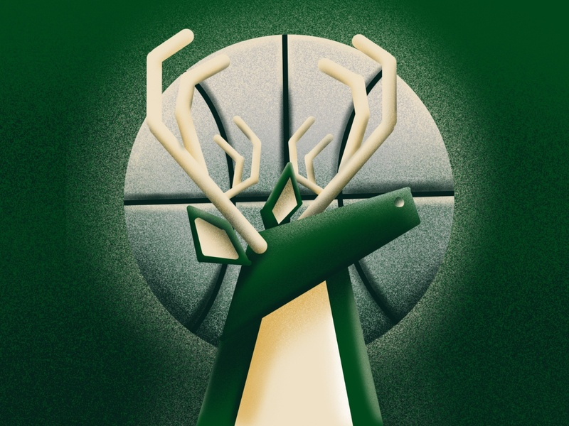 Buck Wild depth photoshop deer noise speckle textures illustration design procreateapp bucks milwaukee bucks nba basketball