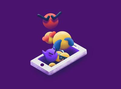 They're Alive! texting iphone illustrations design procreate illustration emojis