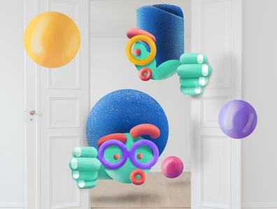 Peek-A-Boo photoshop procreate stock unsplash mixed media depth design gouache texture illustration
