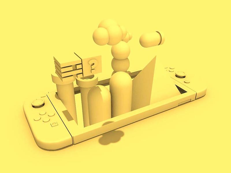 Switch It Up (Progress) 3d animation design depth video game super mario world mario nintendo switch render clay texture c4d maxon 3d art 3d