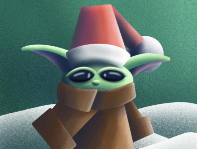 Have a Hola-Yoda Christmas! texture depth illustration procreate mandalorian starwars baby yoda yoda
