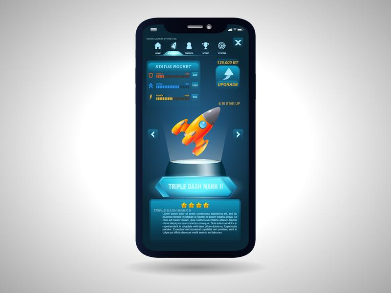 Template Mockup Phone app icon ux tamplate mockup game design ui design uidesign ui  ux uiux game rocket gaming branding ui design vector illustration