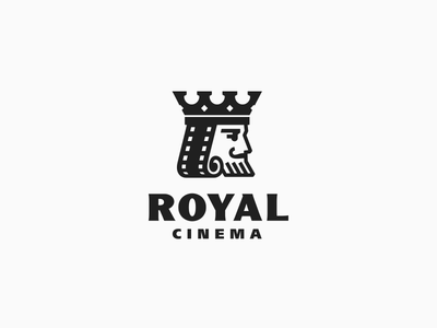 Royal Cinema photo video cinema film linelogo line beard head men man kingdom king logotype логотип jkdesign jkd logo