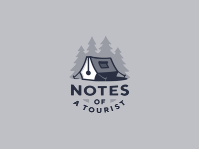 Notes of a tourist idea krivenkodesign logo camping forest tourism travel tourist outdoor writer pen tent logotype