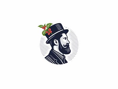 Mr. Coffeeman hipster beard man coffee logotype jkdesign jkd logo
