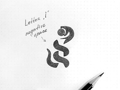 Letter i + snake Logo negativespace negative sketch snake i lettering letter krivenko monogram logotype логотип jkdesign jkd logo