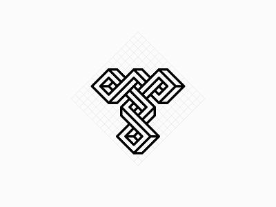 Letter T Logo knot krivenko alphabet weave t letter monogram logotype логотип jkdesign jkd logo