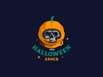 Helloween Space череп космос логотип space cosmonaut skull halloween logo jkdesign jkd