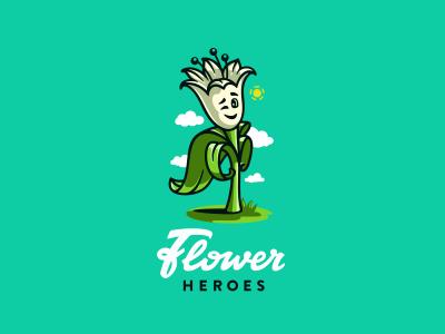 Flower Heroes logo flowershop логотип character emotion floristic illustration hero flower lettering jkd