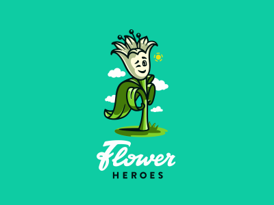 Flower Heroes logo flowershop логотип character emotion floristic illustration hero flower lettering jkd