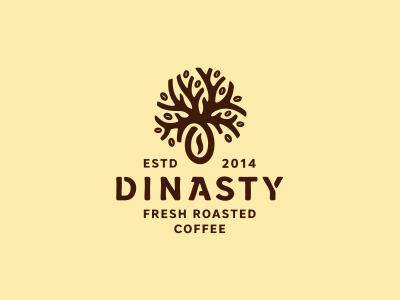 Dinasty  typography type coffeeshop кофе roasted coffee tree drink logo логотип jkdesign jkd