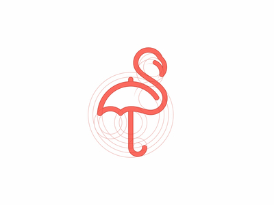 Flamingo + Umbrella логотип зонт фламинго logo learnlogo jkdesign jkd grid bird umbrella flamingo