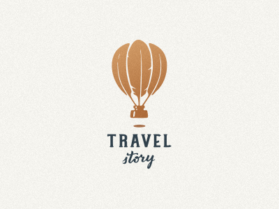 Travel Story путешествие логотип pen balloon feather writer retro travel logo jkdesign jkd