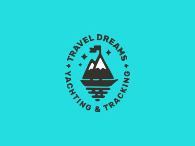 Travel Dreams tracking yacht boat tourism sail mountains logotype logo travel
