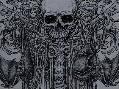 Obscurite Illustration runes pen and ink illustration skull