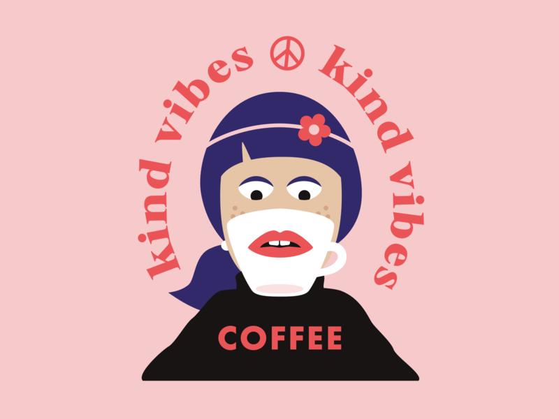 Kind Vibes Coffee: Logo Exploration #1 illustration branding badge logo roasters peace hippie coffee